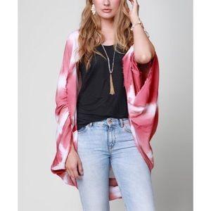 Pink Tie Dye Diamond tile cocoon kimono
